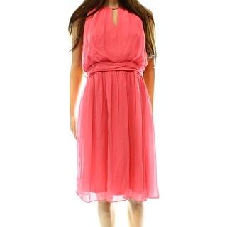 Adrianna Papell NEW Pink Women's Size 6 Empire Waist Chiffon Dress