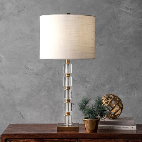 "nuLOOM 29"" Crystal Bamboo Pole Burlap Shade Table Lamp"