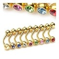 "{Clear} Gold Plated Eyebrow Piercing with Gemmed Ball Ends - 16GA 3/8"" Long (4mm Ball) (Sold Ind.) - Thumbnail 0"