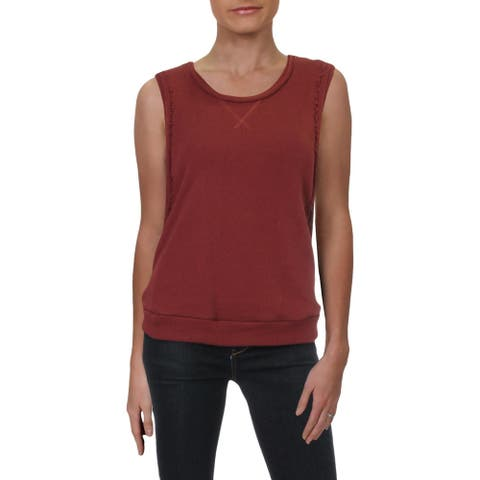 Dolce Vita Womens Tank Top Sweater Distressed Knit - Vintage Red