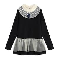 Richie House Girls' elegamt long top with bow and lace