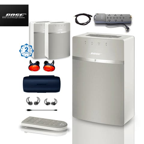2x Bose SoundTouch 10 (White) + FREE SoundSports + 2 pc Acc Bundle