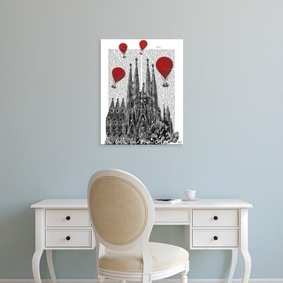 Easy Art Prints Fab Funky's 'Sagrada Familia and Red Hot Air Balloons' Premium Canvas Art