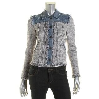 Rebecca Taylor Womens Metallic Distressed Denim Jacket - 0