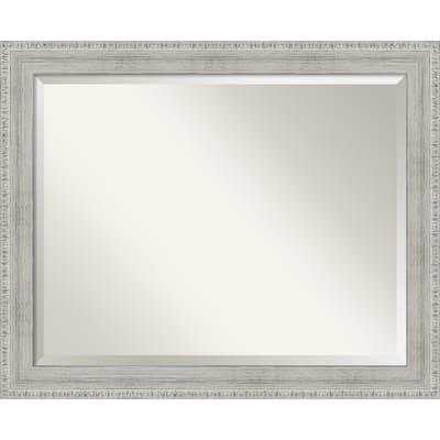 Rustic White Wash Wood Wood Framed Bathroom Mirror