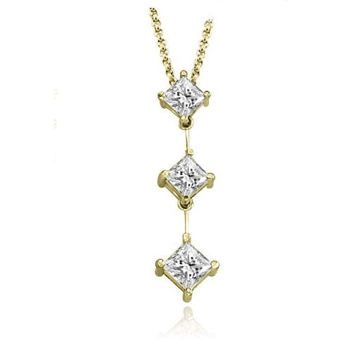 1.00 cttw. 14K Yellow Gold Princess Cut Diamond Three-Stone Pendant