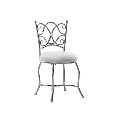Porthos Home Wren Vanity Accent Chair, Silver Iron Wrought, Suede