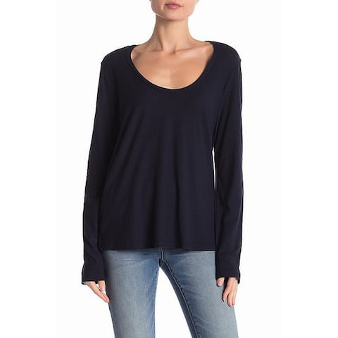 James Perse Womens Top Deep Blue Size 0 Long Sleeve Scoop Neck Knit