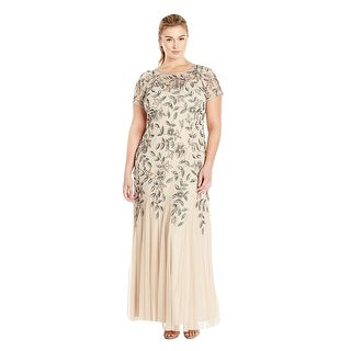 Adrianna Papell Floral Beaded Godet Short Sleeve Evening Gown Dress