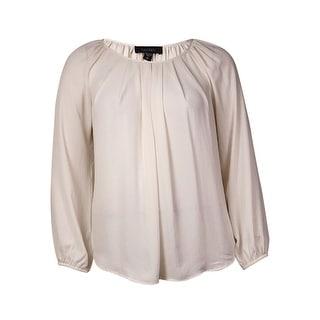 Karen Kane Women's Solid Pleated Front Peasant Blouse (L, Cream) - l