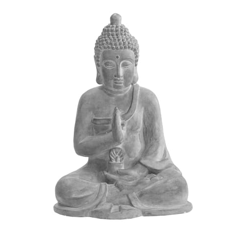 Sunjoy Dark Gray Decorative Buddha Garden Decor Statue