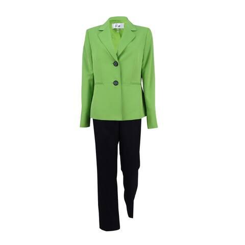 Le Suit Women's Colorblocked Pantsuit (8, Wild Pear/Black) - Wild Pear/Black - 8