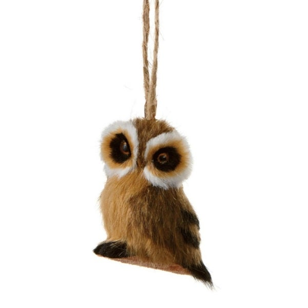 "2.5"" Forest Friends Brown and Black Owl Wildlife Christmas Ornament"