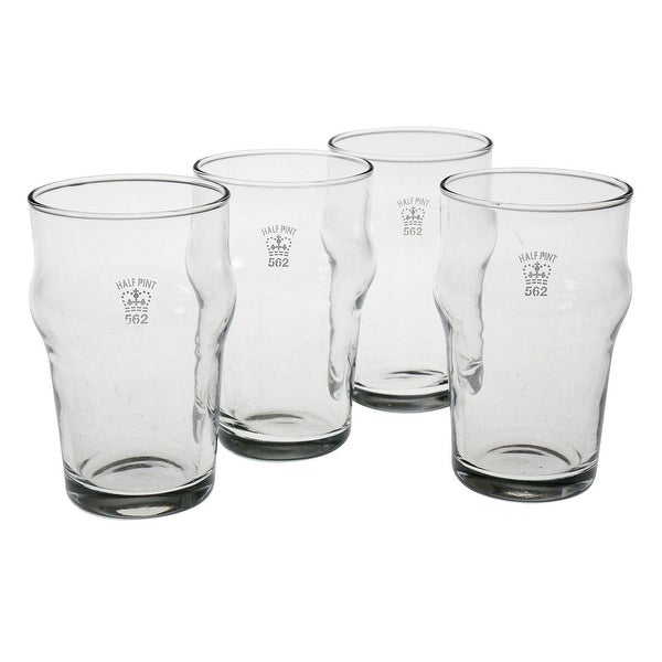 Set of 4 Nonic 1/2 Pint Glass - Government Stamped - 4.5 in.