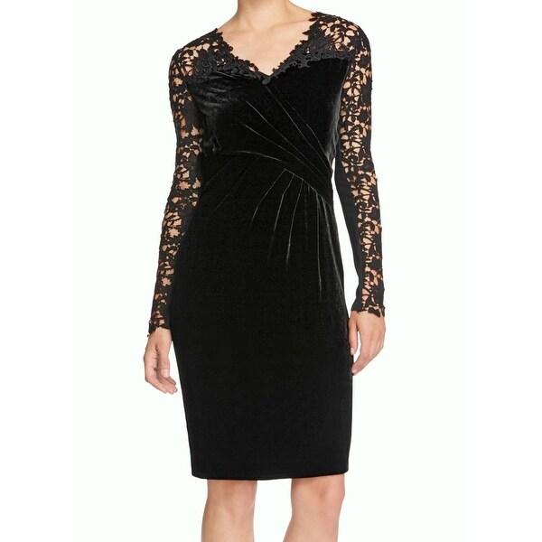 696c77ed71 Shop Elie Tahari NEW Black Womens Size 12 Floral-Lace Velvet Sheath ...
