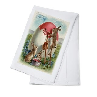 Easter Greeting German Rabbit Painting Vintage Art (100% Cotton Towel Absorbent)