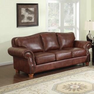 Brandon Distressed Whiskey Premium Top Grain Italian Leather Sofa On Sale Overstock 18045690