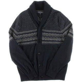 Tommy Hilfiger Mens Button Front Printed Cardigan Sweater - XL