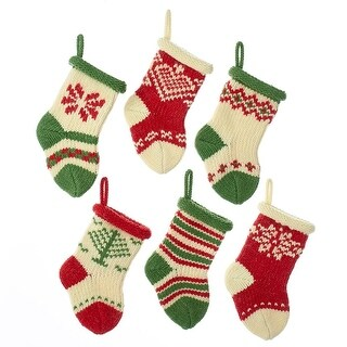 """Pack of 48 Red, Green and Ivory Mini Knit Decorative Christmas Stockings 5"""""""
