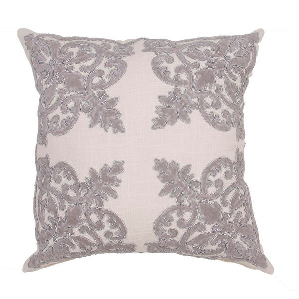 "22"" Fossil Gray and Oatmeal Cotton Floral Pattern Indoor Decorative Throw Pillow"