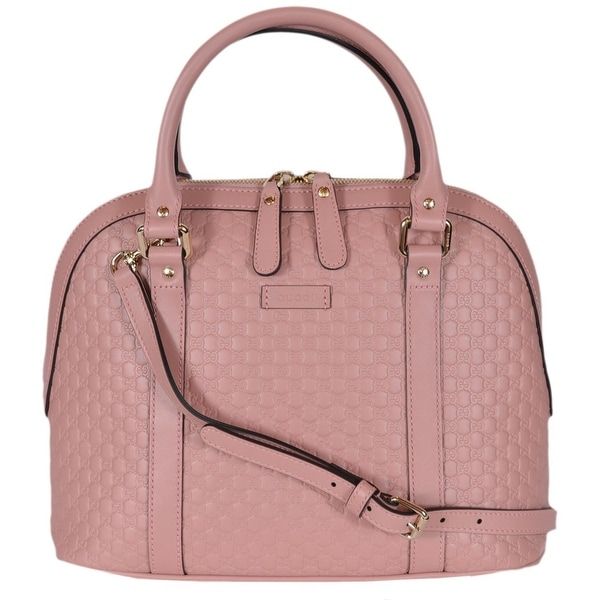 83fa7436f394 Gucci 449663 Pink Leather Medium Convertible Micro GG Dome Satchel Purse