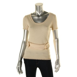 Catherine Malandrino Womens Cashmere Short Sleeves Pullover Sweater - S