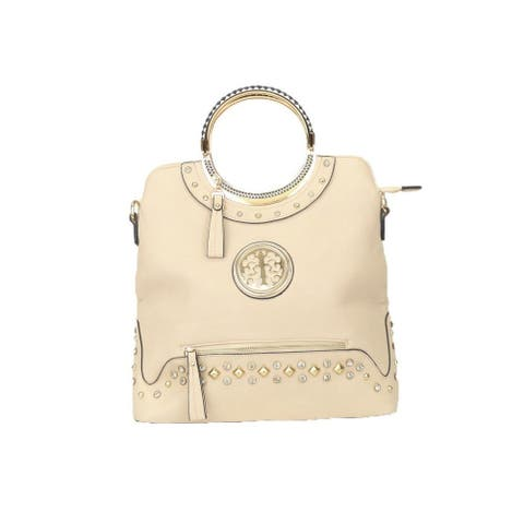 Hearty Trendy Beige Metal Stud Rhinestone Zippered Pockets Fashion Bag - One Size