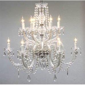 Swarovski Crystal Trimmed Chandelier Lighting With 12 Lights H27 x W32