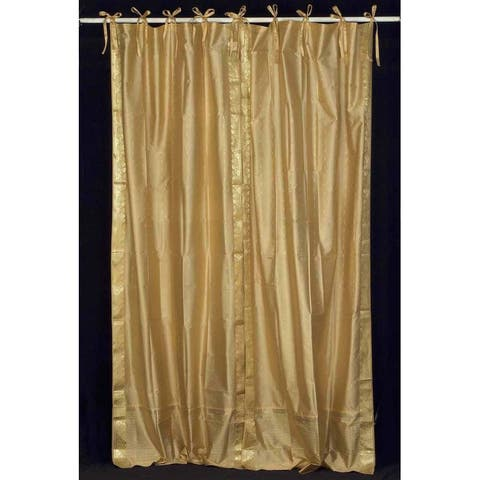 Golden Tie Top Sheer Sari Curtain / Drape / Panel - Piece