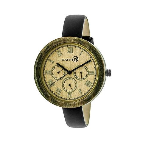 Earth Wood Brush Women's Quartz Watch, Genuine Leather Band