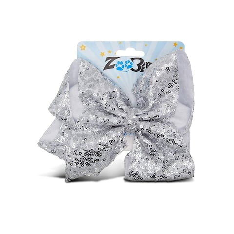 Zoo Beast Signature Collection Giant Sparkly Silver Sequin Hair Bow on Aligator Clip