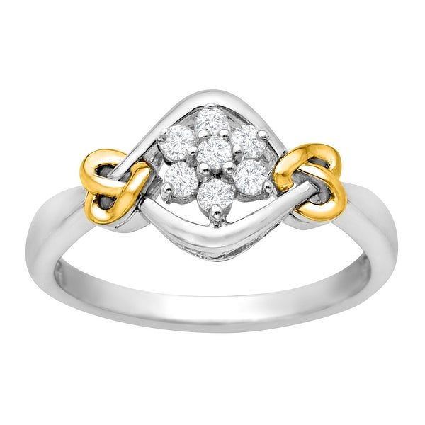 1/5 ct Diamond Flower Ring in Sterling Silver and 14K Gold