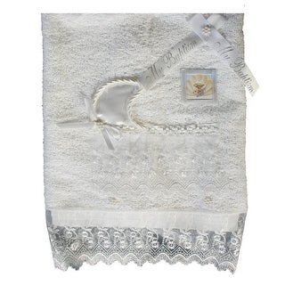 Baby Boys Girls White Cotton Embroidered Organza Trims Christening Towel - One size