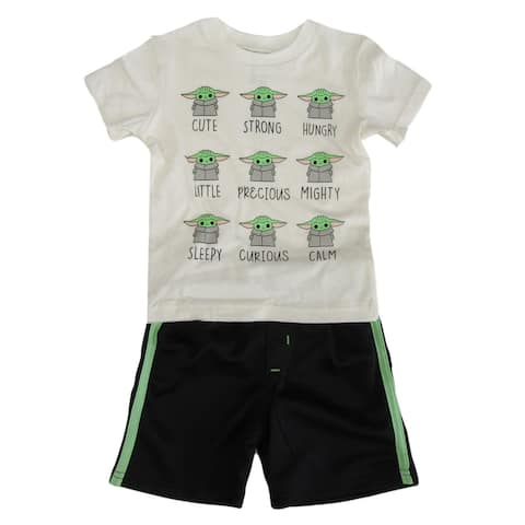 Disney Black Bone White Star Wars Baby Yoda Mesh Set Little Boys