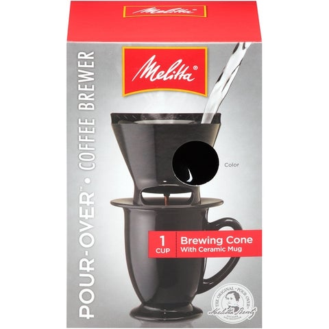 Melitta 1-Cup Pour-Over Coffee Brew Cone & Ceramic Mug Set, Black