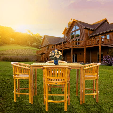 """Chic Teak 5 Piece Teak Wood Peanut Patio Bistro Bar Set with 4 Bar Chairs and 55"""" Bar Table"""
