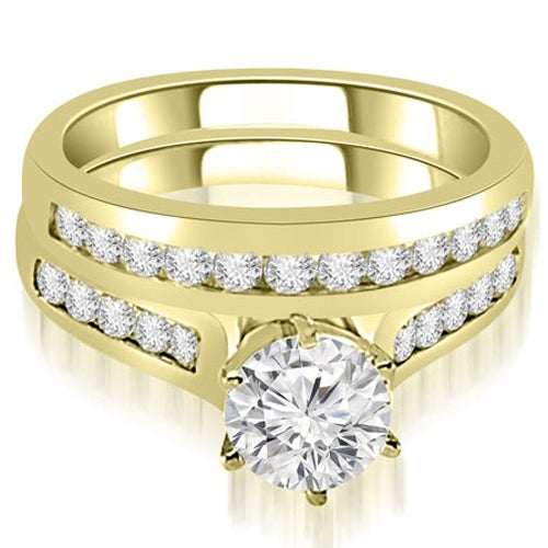 1.66 cttw. 14K Yellow Gold Channel Set Round Cut Diamond Bridal Set