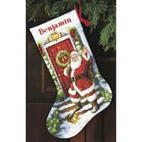 "Gold Collection Welcome Santa Stocking Counted Cross Stitch -16"" Long 14 Count"