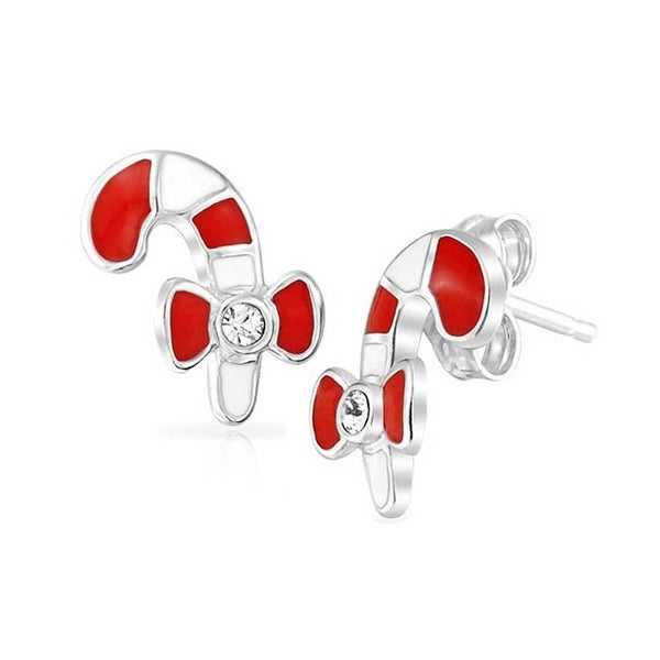 46dfc9877a Tiny Christmas Winter Holiday Red White Enamel Striped Candy Cane Stud  Earrings For Teen 925 Sterling Silver