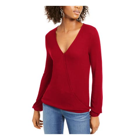 INC Womens Red Long Sleeve V Neck Top Size XL