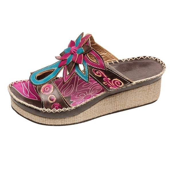 Women's St Martin Platform Wedge Sandals -Pink Blue Leather Flip-Flops