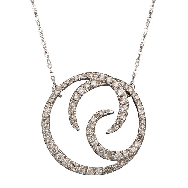 1/4 ct Diamond Swirl Circle Necklace in 10K White Gold