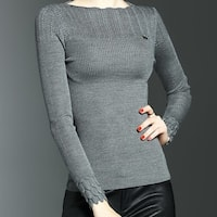 Knitted Long Sleeve Solid Bateau/Boat Neck Sweater