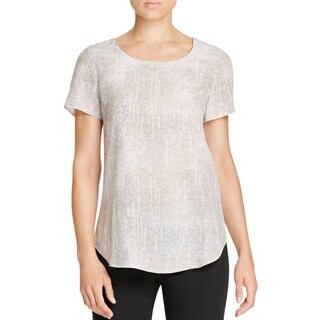 Eileen Fisher Womens Petites Blouse Printed Scoop Neck - pm