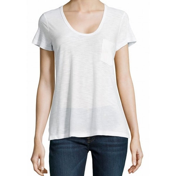 James Perse New White Womens Size 4 Scoop Neck Front Pocket Tee T Shirt