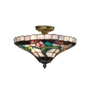 "Dale Tiffany 7096/3LTF 9"" Hollyhock Flush Mount with 3 Lights"