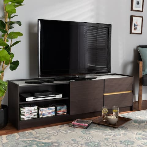 Walker Modern Brown and Gold Finished TV Stand with Faux Marble Top