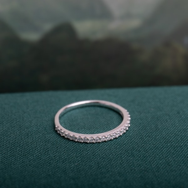 Miadora 10k White Gold 1/5ct TDW Diamond Stackable Anniversary Wedding Band Ring. Opens flyout.