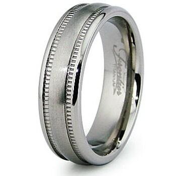 6.0mm Millgrain Satin Finish Titanium Ring (Sizes 7-12)