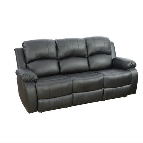 3 Seat Recliner Sofa With Build-In Drop Down Table,Black(2890B-S)